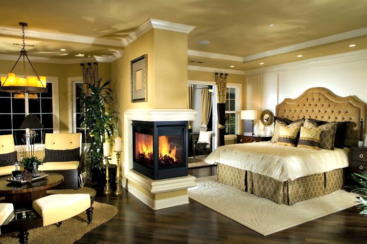 This Image Is A Traditional Design Of Master Bedroom. It Is Decorated With  Dark Wood Bed With A Headboard. The False Ceiling Is A Dry Wall Ceiling  With ...