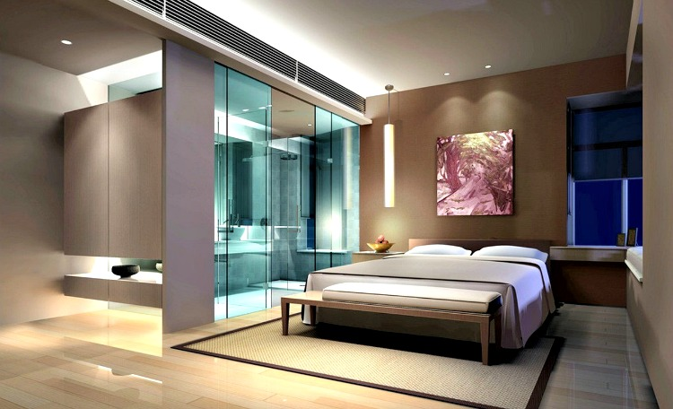 In The View Of Image You Can See A Creative Master Bedroom With Attached Bathroom False Ceiling Is Dry Wall Normal Light Fixtures And