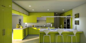Lime Green wood Cabinets