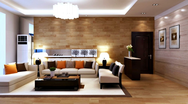 In The View Of This Image You Can See A Modern Drawing Room Which Is Minimal Interior Decorated With Wooden Wall Cladding And Has Mounted