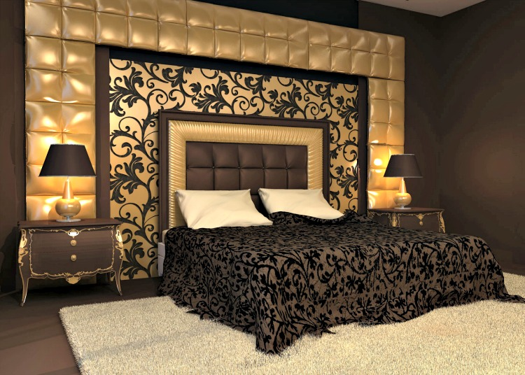 The Interior Of The Holly Wood Glam Bedroom Looks Luxurious. The Interior  Is Decorated With Dark Chocolate Brown Wall Paper. The Bed Looks Modern  With Comfy ...
