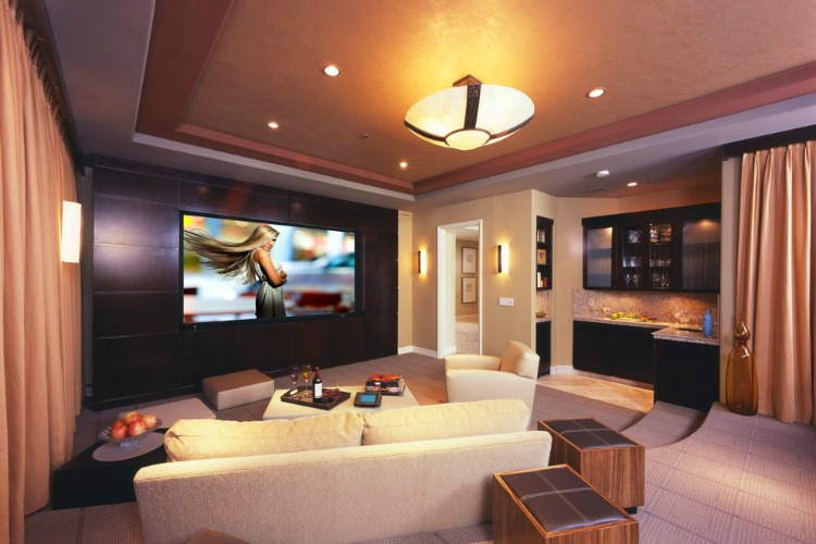 In The View Of The Image You Can See A Creative Style Home Theater With A  Classy Look. The False Ceiling Is A Drop Out Ceiling With Suspension Under  ...